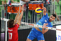 Tomas Rousseaux of Belgium vs Mitja Gasparini of Slovenia during volleyball match between National teams of Slovenia and Belgium in 2nd Round of 2018 FIVB Volleyball Men's World Championship qualification, on May 28, 2017 in Arena Stozice, Ljubljana, Slovenia. Photo by Morgan Kristan / Sportida