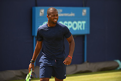 June 23, 2017 - London, United Kingdom - Donald Young of the US practices at The Queen's Club, London on June 22, 2017. The players use the grass courts to train themselves before the start of Wimbledon Championships. (Credit Image: © Alberto Pezzali/NurPhoto via ZUMA Press)