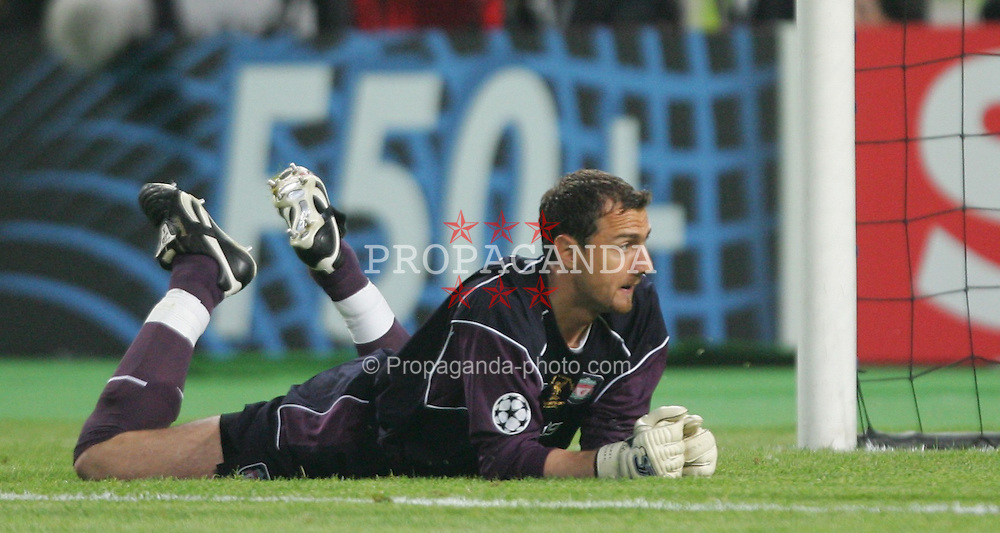 ISTANBUL, TURKEY - WEDNESDAY, MAY 25th, 2005: Liverpool's Jerzy Dudek makes a crucial save from AC Milan's Shevchenko during the UEFA Champions League Final at the Ataturk Olympic Stadium, Istanbul. (Pic by David Rawcliffe/Propaganda)