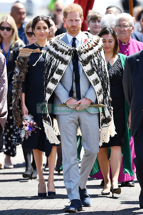 The Duke and Duchess of Sussex wear traditional Maori cloaks called a Korowai during a visit to Te Papaiouru, Ohinemutu, in Rotorua, before a lunch in honour of Harry and Meghan, on day four of the royal couple's tour of New Zealand.