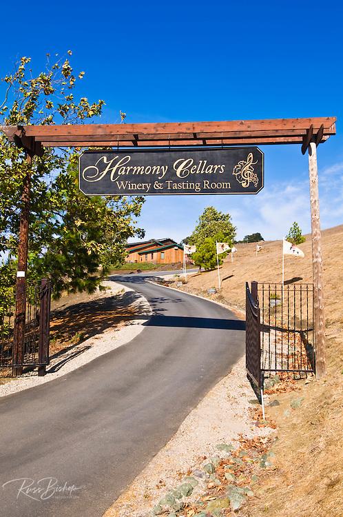 Entrance sign at Harmony Cellars, Harmony, California