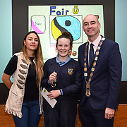 05/03/2019<br /> Pictured is 3rd prize award winner Niamh Twomey from Milford NS, along with Sara Montoya, co-op member of Fairtrade Colombia, and Cllr Daniel Butler, Mayor of the Metropolitan District of Limerick.<br /> <br /> Fairtrade worker Sara Montoya, from a Fairtrade Coffee Co-op in Colombia was the special guest in Limerick City and County Council chamber today at an event to coincide with Fairtrade Fortnight.<br />  <br /> Sara joined Fairtrade supporters from across Limerick and Ireland for the annual initiative, which features a programme of talks and community events aimed at promoting awareness of Fairtrade and Fairtrade-certified products.<br />  <br /> Speaking at the event in Dooradoyle, Sara outlined the success and benefits of the Fairtrade movement in Colombia and how important it is for people in the developed world think of Fairtrade products when shopping.<br />  <br /> This year's campaign 'Create Fairtrade' invites us all to use our imagination and create fairtrade in our lives.<br />  <br /> Young people from across Limerick city and county were also a focus of the event as they displayed their posters, which they created to help change the way people think about trade and the products on our shelves.<br /> Photo by Diarmuid Greene