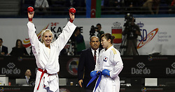 November 10, 2018 - Madrid, Madrid, Spain - Greek karateka Eleni Chatziliadou seen celebrating after defeating the Japanese karateka Ayumi Uekusa during the Kumite female +68kg final competition of the 24th Karate World Championships at the WiZink centre in Madrid. (Credit Image: © Manu Reino/SOPA Images via ZUMA Wire)