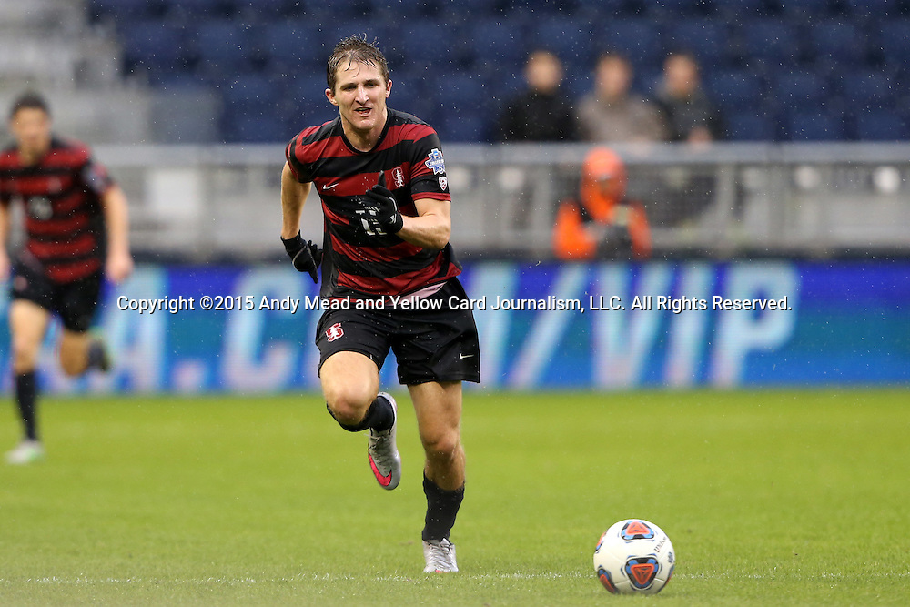 13 December 2015: Stanford's Eric Verso. The Clemson University Tigers played the Stanford University Cardinal at Sporting Park in Kansas City, Kansas in the 2015 NCAA Division I Men's College Cup championship match. Stanford won the game 4-0.