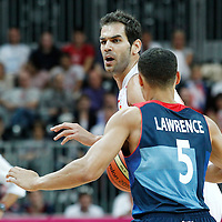 02 August 2012: Spain Jose Calderon brings the ball upcourt during 79-78 Team Spain victory over Team Great Britain, during the men's basketball preliminary, at the Basketball Arena, in London, Great Britain.
