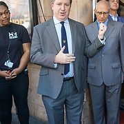 London,England,UK, 25th May 2017. Matcham society - Mark Sell, Vice President unveils plaque as theatre launches walk of fame celebrating East London's cultural legacy with plaques also dedicated to Frank Matcham and Oswald Stoll at Hackney Empire,London.UK. by See Li