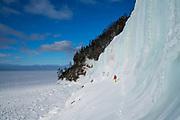 Angelika Ranier climbing on the Grand Island, Pictured Rocks National Lakeshore, Munising, Michigan