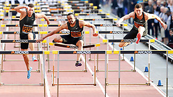 USA's Aries Merritt (centre) hits a hurdle as Poland's Damian Czykier (right) wins the Men's 110m Hurdles with Great Britain's Andy Pozzi (left) taking 3rd, during the Arcadis Great CityGames at Deansgate, Manchester.