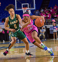 Middle Tennessee Blue Raiders guard Aislynn Hayes (11) drives past UAB Blazers guard Miyah Barnes (0) during the UAB Blazers at Middle Tennessee Blue Raiders college basketball game in Murfreesboro, Tennessee, Thursday, February, 20, 2020.<br /> Photo: Harrison McClary/All Tenn Sports