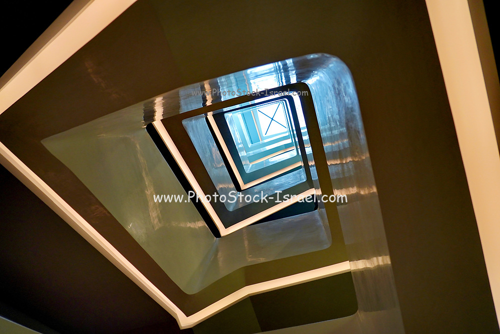 Abstract architecture in the interior of the Goulandris Museum of Contemporary Art a modern art museum in Eratosthenous Street, Pangrati, Athens, Greece, opened in October 2019.