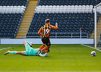 Hull City's Keane Lewis-Potter is fouled by Oxford United's Jack Stevens but a penalty was not awarded due to an offside decision<br /> <br /> Photographer Lee Parker/CameraSport<br /> <br /> The EFL Sky Bet League One - Hull City v Oxford United - Saturday 13th March 2021 - KCOM Stadium - Kingston upon Hull<br /> <br /> World Copyright © 2021 CameraSport. All rights reserved. 43 Linden Ave. Countesthorpe. Leicester. England. LE8 5PG - Tel: +44 (0) 116 277 4147 - admin@camerasport.com - www.camerasport.com