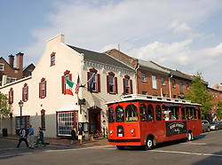 Washington DC; USA: Alexandria's Old Town, historic trolley car.Photo copyright Lee Foster Photo # 34-washdc79392