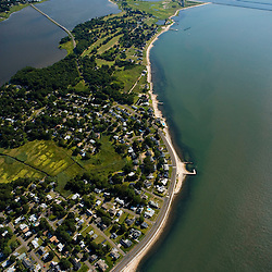 The mouth of the Connecticut River in Old Saybrook, Connecticut.  Long Island Sound.  Aerial.   Beach.
