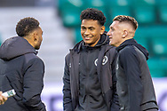 Demetri Mitchell (#11)(centre) of Heart of Midlothian with Jake Mulraney (#23)(left) and Callumn Morrison (#38) of Heart of Midlothian before the Ladbrokes Scottish Premiership match between Hibernian FC and Heart of Midlothian FC at Easter Road Stadium, Edinburgh, Scotland on 29 December 2018.
