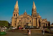 MEXICO, MAJOR CITIES Guadalajara; the Cathedral c.1558-1616, west facade seen across fountains in Plaza de los Laureles.