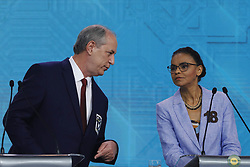 September 30, 2018 - Sao Paulo, Sao Paulo, Brazil - Sep, 2018 - Penultimate debate of the first round of the elections between the candidates for the presidency of Brazil held in the studios of the Record television network, in the city of São Paulo, this Sunday (30). In the picture CIRO GOMES(left) and MARINA SILVA. (Credit Image: © Marcelo Chello/ZUMA Wire)