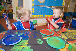 Children playing with paints at an early start unit ran by the Nottingham Royal Society for the Blind (NRSB),