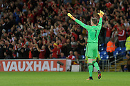 Wales goalkeeper Wayne Hennessey celebrates Sam Vokes opening goal (not in shot). Wales v Moldova , FIFA World Cup qualifier at the Cardiff city Stadium in Cardiff on Monday 5th Sept 2016. pic by Carl Robertson, Andrew Orchard sports photography