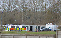 © Licensed to London News Pictures 12/03/2021. Ashford, UK. Police vehicles on the site. Teams of Metropolitan police officers continue to search Great Chart Leisure in Ashford, Kent today in connection with the ongoing investigation into the disappearance of Sarah Everard from London. Photo credit:Grant Falvey/LNP