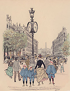 Rue Royale, Paris: Cartoon from  'Paris Brillant' c1890 by 'Mars'.