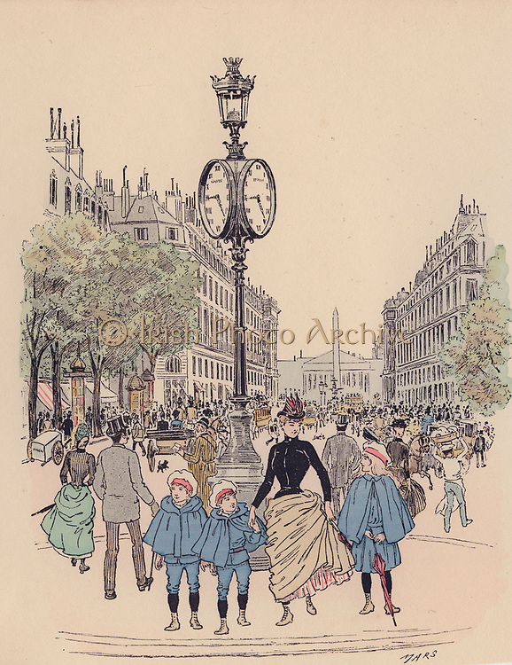 Rue Royale, Paris: Cartoon from  'Paris Brillant' c1890 by 'Mars'.