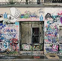 Graffiti adorns the walls of deceased French singer Serge Gainsbourg's former home in Paris France.<br /> <br /> NOTE: Larger resolution versions of these images are available on request.