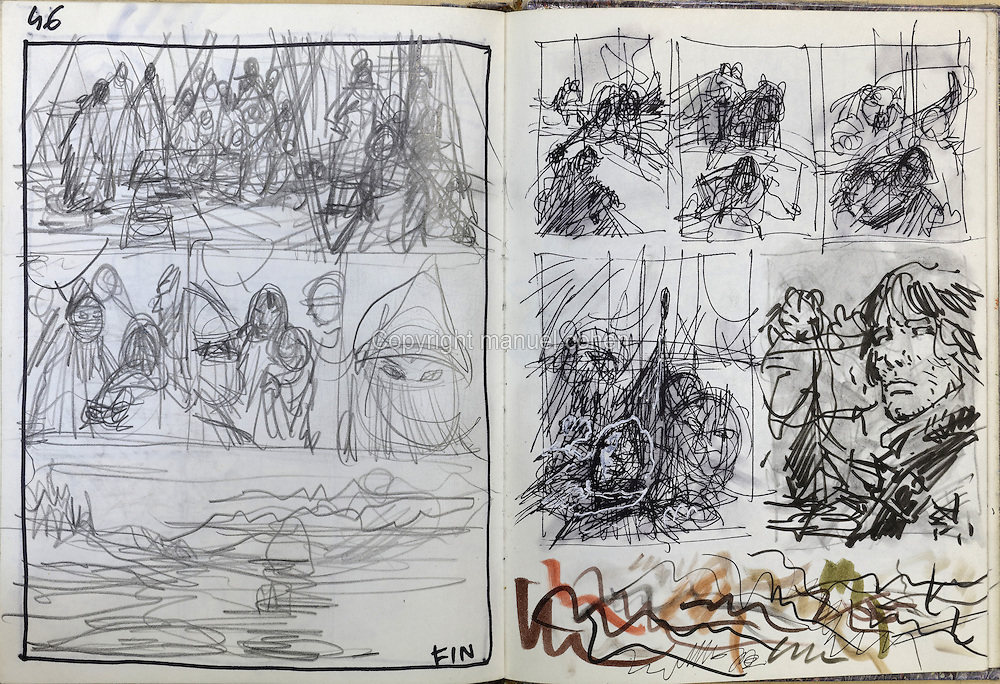 Storyboard sketches from a sketchbook on Series 30, Moi Jolan, and Series 32, La Bataille d'Asgard, of the Thorgal comic books, by Grzegorz Rosinski, 1941-, Polish comic book artist. Rosinski was born in Stalowa Wola, Poland, and now lives in Switzerland, and is the author and designer of many Polish comic book series. He created Thorgal with Belgian writer Jean Van Hamme. The series was first published in Tintin in 1977 and has been published by Le Lombard since 1980. The stories cover Norse mythology, Atlantean fantasy, science fiction, horror and adventure genres. Picture by Manuel Cohen / Further clearances requested, please contact us and/or visit www.lelombard.com