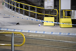 © Licensed to London News Pictures . 31/12/2018. Manchester, UK. A discharged taser , shoe and paramedic equipment on Metrolink platform B at Victoria Station . Police close off Victoria Station in Manchester after reports of multiple stabbings , including to a British Transport Police officer , following a knife attack on a platform at the station . A man has been arrested and a taser was deployed at the scene . Photo credit: Joel Goodman/LNP