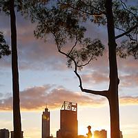 Jogger at dawn on Fraser Avenue overlooking Perth CBD Perth Region