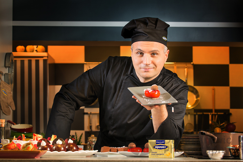 Advertising and PR images of famous serbian pastry cook Zdravko Gavrilovic. Client: Dijamant.rs