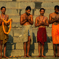 Asia, India, Varanasi. Worshipers at the Ganges River in Varanasi.