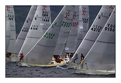 Yachting- The second start of the Bell Lawrie Scottish series 2002 at Inverkip racing to Tarbert Loch Fyne where racing continues over the weekend.<br /><br />the white Tub K4294 in the middle of the Sigma 33 start<br /><br />Pics Marc Turner / PFM