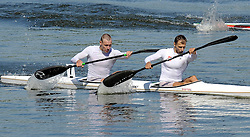 MARIUSZ KUJAWSKI & RAFAL ROSOLSKI (BOTH POLAND) COMPETE IN MEN'S K2 1000 METERS FINAL A RACE DURING 2010 ICF KAYAK SPRINT WORLD CHAMPIONSHIPS ON MALTA LAKE IN POZNAN, POLAND...POLAND , POZNAN , AUGUST 21, 2010..( PHOTO BY ADAM NURKIEWICZ / MEDIASPORT ).