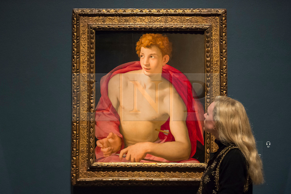 """© Licensed to London News Pictures. 28/02/2019. LONDON, UK. A staff member views """"Saint Sebastian"""" c1533 by Agnolo Bronzino. Preview of """"The Renaissance Nude"""", an exhibition at the Royal Academy of Arts in Piccadilly of 90 works examining the emergence of the nude in European art.  Works by artists including Leonardo da Vinci to Michelangelo are on display in the Sackler Galleries 3 March to 2 June 2019.  Photo credit: Stephen Chung/LNP"""