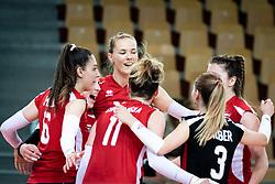 Team of Austria celebrating during volleyball match between Slovenia and Austria in CEV Volleyball European Silver League 2021, on 6 of June, 2021 in Dvorana Ljudski Vrt, Maribor, Slovenia. Photo by Blaž Weindorfer / Sportida