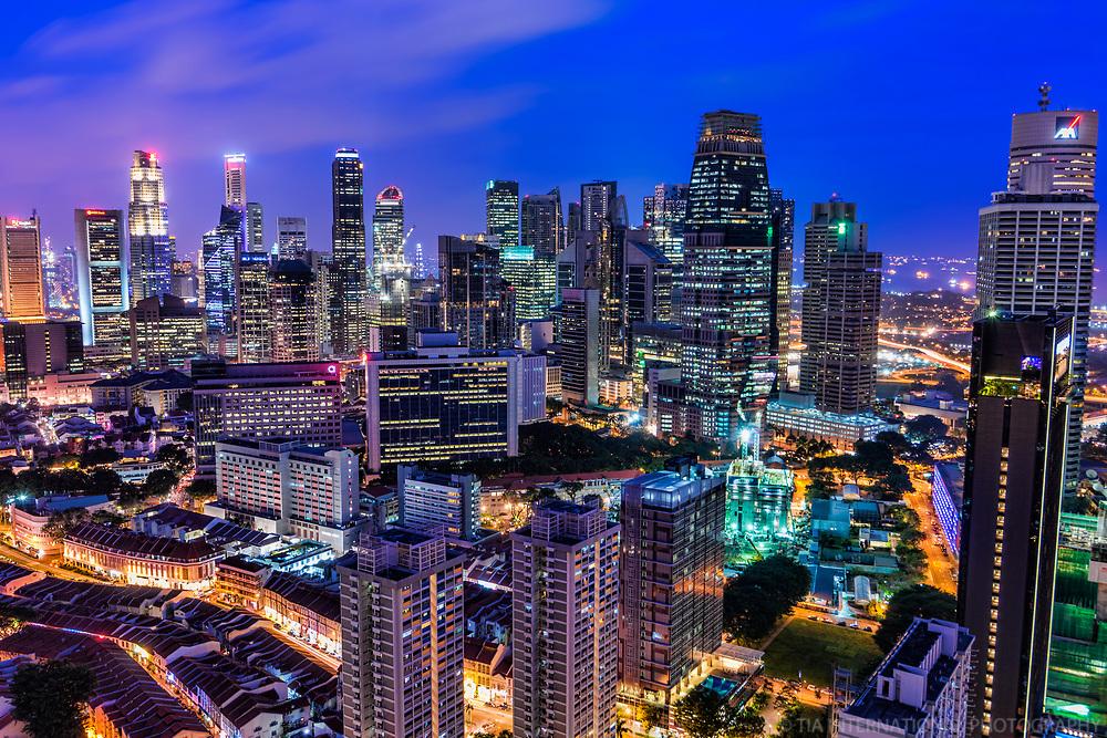Singapore - Chinatown (lower left) & Downtown (Night)