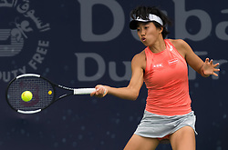February 19, 2019 - Dubai, ARAB EMIRATES - Shuai Zhang of China in action during her second-round match at the 2019 Dubai Duty Free Tennis Championships WTA Premier 5 tennis tournament (Credit Image: © AFP7 via ZUMA Wire)