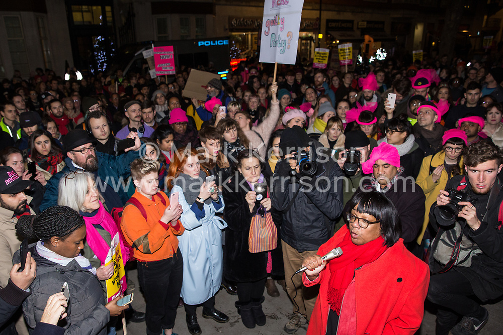 London, UK. 11th December, 2018. Diane Abbott, Shadow Home Secretary, addresses protesters gathered outside the Home Office to protest against the conviction using an anti-terrorism offence under the Aviation and Maritime Security Act 1990 of the Stansted 15 following non-violent direct action to try to prevent a Home Office deportation flight carrying immigrants to Nigeria, Ghana and Sierra Leone from taking off from Stansted airport in March 2017. The judge directed the jury to disregard evidence put forward in their defence that their acts were intended to stop human rights abuses.