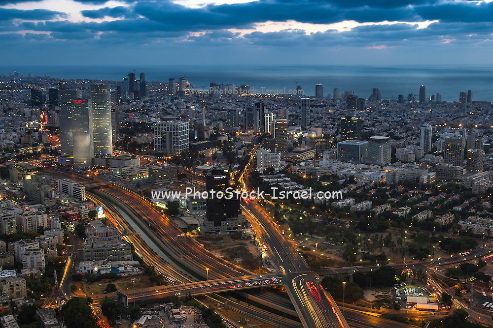 Aerial view of Tel Aviv, Israel Looking West