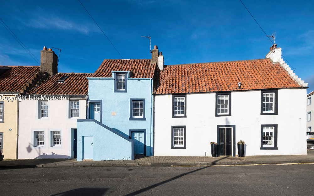 View of traditional old houses at St Monans on East Neuk of Fife in Scotland, United Kingdom.