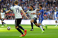 Tottenham's Mousa Dembele (c) holds off Chelsea's Pedro (r). The Emirates FA Cup semi-final match, Chelsea v Tottenham Hotspur at Wembley Stadium in London on Saturday 22nd April 2017.<br /> pic by Carl Robertson,  Andrew Orchard sports photography.