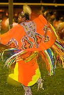 Teenage girl, blurred motion, Womens Fancy Shawl Dance, Crow Fair, powwow, Crow Indian Reservation, Montana