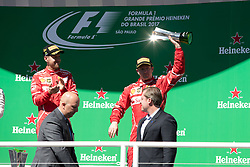November 12, 2017 - Sao Paulo, Sao Paulo, Brazil - KIMI RAIKKONEN,  celebrates after winning the third place of the Formula One Grand Prix of Brazil at Interlagos circuit, in Sao Paulo, Brazil on November 12, 2017. (Credit Image: © Paulo Lopes via ZUMA Wire)