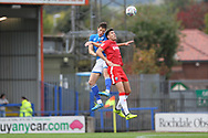 Jim McNulty wins a header during the EFL Sky Bet League 1 match between Rochdale and Gillingham at Spotland, Rochdale, England on 23 September 2017. Photo by Daniel Youngs.