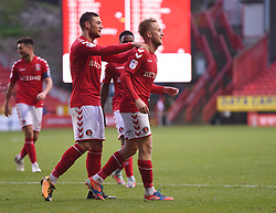 Charlton Athletic's Ben Reeves (centre) celebrates scoring their third goal with team mate Charlton Athletic's Jake Forster-Caskey