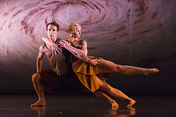 "© Licensed to London News Pictures. 18/11/2014. London, England. Simone Damberg Würtz and Pierre Tappon performing Terra Incognita choreographed by Shobana Jeyasingh. British dance company ""Rambert"" perform their new show ""Triptych"" at Sadler's Wells Theatre from 18 to 22 November 2014. Choreographed by Shobana Jeyasingh with Luke Ahmet, Lucy Balfour, Adam Blyde, Carolyn Bolton, Simone Damberg Würtz, Dane Hurt, Vanessa King, Adam Park, Hannah Rudd and Pierre Tappon dancing. Photo credit: Bettina Strenske/LNP"