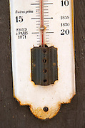 Old thermometer on the wall. Domaine Marc Kreydenweiss, Andlau, Alsace, France