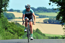 © Licensed to London News Pictures. 21/07/2017<br /> A cyclist enjoying a relaxing bike ride in the sunshine.<br /> Crockenhill Lane, Crockenhill, Kent.<br /> Photo credit: Grant Falvey/LNP