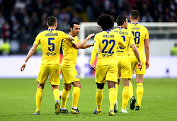 Chelsea's Pedro (second left) celebrates scoring his side's first goal of the game during the UEFA Europa League Semi final, first leg match at The Frankfurt Stadion, Frankfurt.