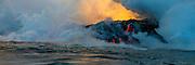 Lava Boat Tour, Kilauea Volcanon, HVNP. Island of Hawaii, Hawaii, panoramic